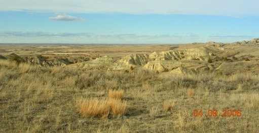 Naturally eroded clay hills...badlands.