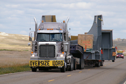 Another oversized load on Highway 200 near Richey, MT