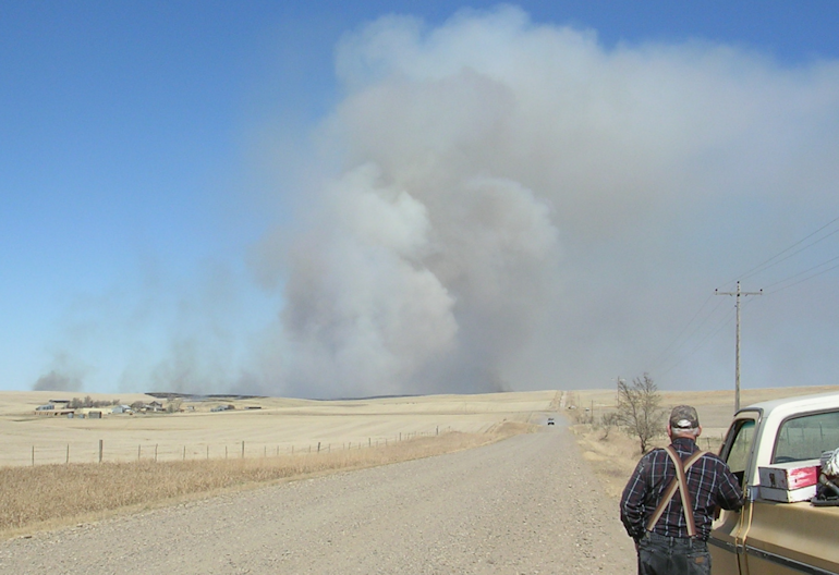 Prairie fire rages out of control NW of Richey, MT