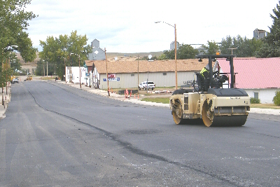 Repaving Main Street2-Compacting The New Pavement