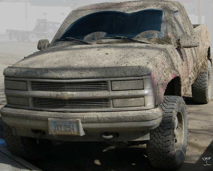 You have TRY very hard to cover a vehicle in this much mud.